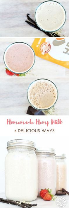 This Homemade Hemp Milk is a great alternative to dairy milk. You can use it in smoothies, cereal, baking, and more! Try our Vanilla, Chocolate, and Strawberry Hemp Milk!