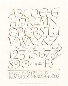 I Love Capitals 2 by John Stevens -- beautiful exemplar for capital letters -- Roman/Italic stylized
