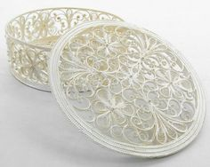 "Russian Filigree Box  ""Rose"" Incredible Quilled Works of Art"