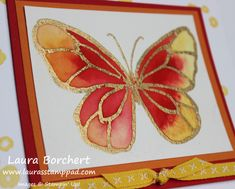 Golden Butterfly, Coloring with the NEW Stampin' Up! Brusho Crystal Colour, Butterfly, Beautiful Day Stampin' Up Stamp Set, Heat Embossing, Gold Embossing Powder, Occasions Mini Catalog www.LaurasStampPad.com