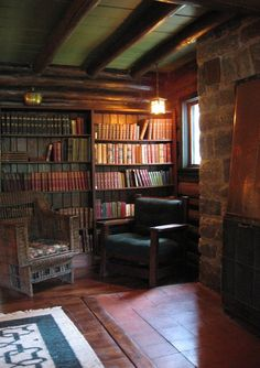 """The Stickley Museum at Craftsman Farms: Living Room: American Chestnut Bookcase (one of a pair), 7' h x 7' 11"""" w x 12"""" d."""