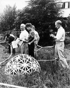 Buckminster Fuller at Black Mountain College. Black Mountain, NC. Also Elaine DeKooning, Josef Albers.