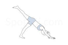 One Legged Downward Dog Pose Mindfulness Practice, Guided Meditation, Thigh Exercises, Stretches, Workout Routines For Women, Dog Poses, Yoga Motivation, Downward Dog, Yoga Tips