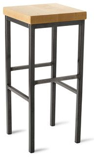 """Square Metal Stool, Maple, 30"""" - eclectic - bar stools and counter stools - by Vermont Farm Table"""