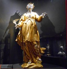 Reliquary statue of St Dolcissima, Virgin and Martyr in the persecution of Diocletian Patron Saint of Sutri; century, gilded wood, with head, hands and feet in silver. Aachen Cathedral, Patron Saints, Persecution, Sacred Art, Sculptures, Display, Arizona, Plaza, 18th Century