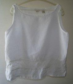 J JILL 100% linen shirt blouse top white sleeveless L