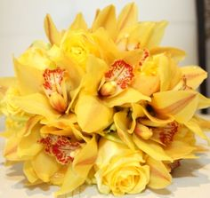 Yellow orchid bridal #bouquet by Lucy Wu Floral Design.