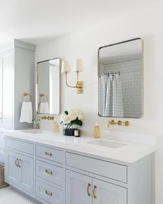 Neutral boys bathroom with classic tile, brass details, light blue cabinetry on vanity Bathroom Renos, Grey Bathrooms, Master Bathroom, Bathroom Ideas, Gold Bathroom, Bathroom Vanities, Neutral Bathroom, Bathroom Shelves, Bathroom Double Vanity