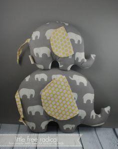 Grey & Yellow Mod Basics Elephant   Large by LittleFreeRadical,