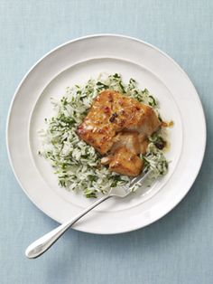 Broiled Sweet and Spicy Salmon with Spinach Rice