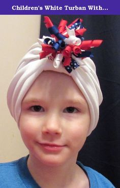 "Children's White Turban With Corker Barrette Chemo Hat Alopecia Head Cover Cancer Scarf. This turban is made with a soft jersey cotton/poly knit and consists of the hat and the corker ribbon barrette. I've sewn a sleeve in the front of the hat where you can slide the corker barrette. Corker bow measures approx 3 1/2"" from one end of ribbon to the other. All ribbon has been heat seared to prevent fraying. You can remove the barrette for sleep, or for laundering. You can use other hair…"