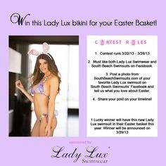 LADIES!! Here's your chance to win a FREE Lady Lux Swimwear bikini!!!That's Right! Enter to win at South Beach Swimsuits details listed to below...make sure not to miss out on this opportunity!!! www.southbeachswimsuits.com