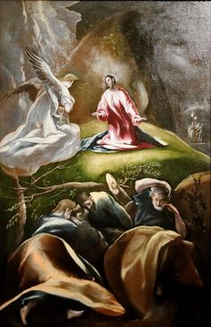 Agony in the garden (C 1610-1612), El Greco. Budapest Museum of fine arts