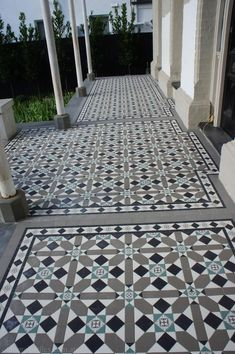 Olde English Tiles' gorgeous tessellated tiled floors can revitalise and transform a tired verandah into a spectacular, welcoming entrance to your home. Terrace House Exterior, Terrace Floor, Facade House, Porch Tile, Patio Tiles, Outdoor Tiles, Front Verandah, Front Porch, Tiled Hallway