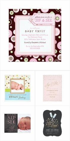 Welcome family and friends to meet your newborn with one of these adorable custom Sip and See invitation cards | click to view the collection at Zazzle