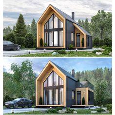 A Frame House Plans, Small House Plans, Architect Design House, House Design, Summer House Interiors, Triangle House, Tiny House Exterior, Modern Barn House, Small Tiny House