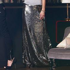 Modischer Maxirock mit Pailletten.  #fashion #impressionen