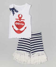 Look what I found on #zulily! Beary Basics White Anchor Personalized Tank & Shorts - Infant, Toddler & Girls by Beary Basics #zulilyfinds