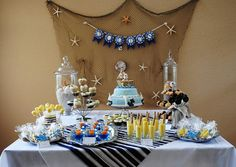 Nautical inspired dessert table. #nautical #dessert #table #baby #shower #pinparty