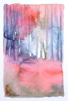 WOODLAND SUNSET I small watercolour painting by TheMinervaGallery