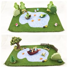 Welcome to the Pond Playscape . It is just waiting for imagination to move in.  This wool felt play mat is hand stitched and measures approximately twelve inches by eighteen inches.  The play possibilities are endless!  Small parts Not intended for children under the age of three Spot clean only accessories not included Trees sold separately in my shop www.mybigworld2015.etsy.com  Thank you for taking a peek at my imaginative Toys.