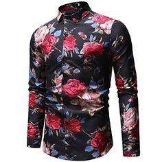Womens Lapel Floral Print Slim Casual Men's Shirt Best Mens Business Casual, Men Casual, Mens Shirts Online, Men Shirts, Shirt Men, Harajuku, Floral Print Shirt, Plus Size Shirts, Vintage Shirts