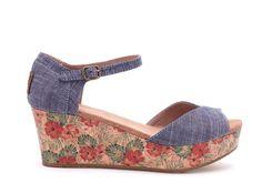 undefined Chambray Floral Kork Plattform Wedges für Damen