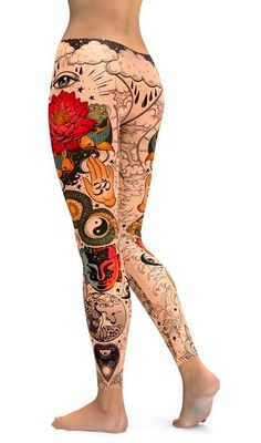 TATTOOED LOTUS LEGGINGS from GearBunch Floral Leggings, Tops For Leggings, Sports Leggings, Printed Leggings, Workout Leggings, Women's Leggings, Leggings Store, Tights, Tribal Leggings