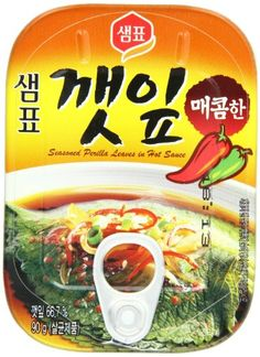 Sempio Canned Sesame Leaves -Spicy (red circle), 90-Grams (Pack of 10) Sempio http://www.amazon.com/dp/B004Q3UQEC/ref=cm_sw_r_pi_dp_a8xfvb0X8BCS9