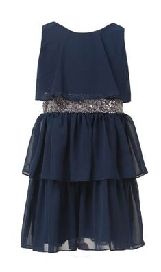 e4caeb5b2396 Sweet Kids Girls Sequin Belted Chiffon Dress 16 Navy ( Sk 401) sweet kids  http