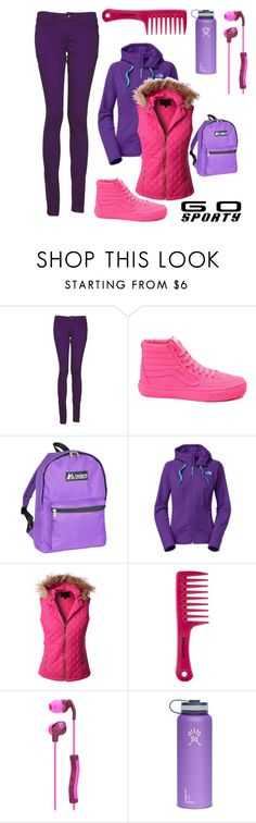 """Go Sporty!"" by tanabeya ❤ liked on Polyvore featuring Monkee Genes, Vans, Everest, The North Face, LE3NO, Sephora Collection and Skullcandy"