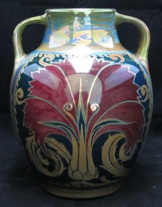 """Pilkington's Lustre Two Handled Vase decorated with stylised Carnations by Gordon Forsyth  9.5"""" high, 6.5"""" wide  Dated: 1911  www.adantiques.com"""