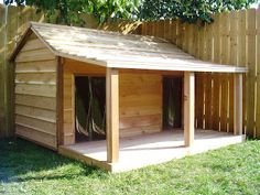 large dog house with porch \ large dog house . large dog house with porch . large dog house plans how to build . Double Dog House, Dog House With Porch, House Dog, Large Dog House Plans, Goat House, Diy Outside Dog House, Extra Large Dog House, Build A Dog House, Grande Niche