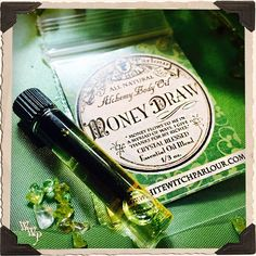 MONEY DRAW All Natural Alchemy Oil SAMPLE 1ml. Peppermint, Cinnamon & Lemongrass. Blessed with Peridot & Citrine Crystals.