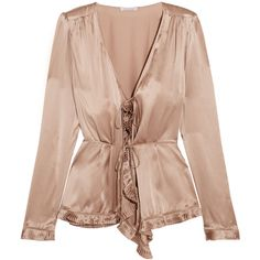 Tomas Maier Pleat-trimmed silk-charmeuse blouse ($860) ❤ liked on Polyvore featuring tops, blouses, flared top, tie top, silk charmeuse top, silk charmeuse blouse and pink top
