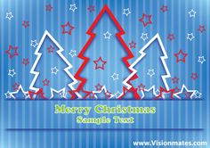 Blue Merry Christmas card 2013 with Christmas trees, stars and blue background. Premium Christmas vector design in Ai.