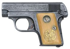 Colt 1908 Vest Pocket .25 ACP Serial Number 163166 Factory Master Engraved by William H. Gough Blue Finish, Gold Inlaid Monogrammed Ivory Stocks -