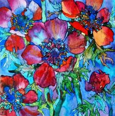 Sofia Perina-Miller/Night Anemones Watercolour and Pen 25 x 25 cm Art And Illustration, Illustrations, Art Floral, Watercolor Flowers, Watercolor Paintings, Watercolours, Hollyhocks Flowers, Pop Art Images, Art Abstrait