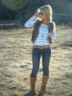 i love pairing anything with a classic striped shirt, and a fall vest is no exception. this is a perfect casual but chic outfit
