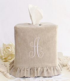 "Monogram Natural Linen ruffled tissue box cover with a ""C"""