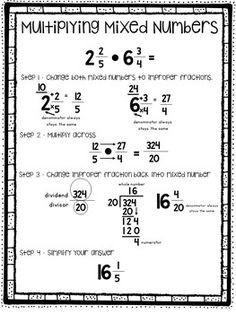 Multiplying Mixed Numbers Break It Down Math - Mathe Ideen 2020 Math Charts, Math Anchor Charts, Math Cheat Sheet, Math Help, Learn Math, Math Formulas, Fifth Grade Math, Math Intervention, Math Fractions