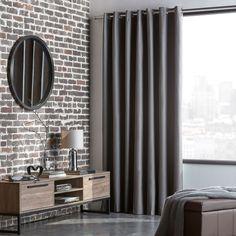 Window Treatments Living Room, Living Room Windows, House Windows, Blackout Curtains, Panel Curtains, Bouclair, Window Panels, Charcoal Color, Decoration