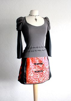 Asian Red Upcycled Dress Recycled Clothing by BrokenGhostClothing