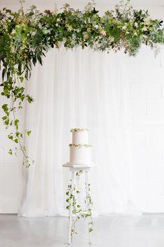 Wedding Cake with Greenery Display