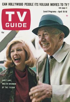 """TV Guide: April 10, 1965 - Janet Lake and Walter Brennan of """"The Tycoon"""""""