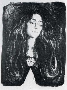 Edvard Munch - The Brooch - Eva Mudocci 1903 - Lithograph cm - Munch Museum Oslo Norway Edvard Munch, Art Moderne, Art Graphique, Kandinsky, Famous Artists, Art Google, Les Oeuvres, Art Inspo, Painting & Drawing