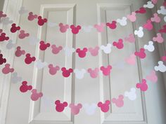 Pink Mouse Style Garland Strand, Birthday Party Decorations, Mickey Mouse Themed Party Decorations. $10.00, via Etsy.