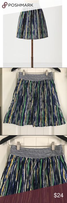Anthropologie Porridge Striped Skirt Multi striped A line skirt from Porridge, sold at Anthropologie. Elastic waist band makes this skirt comfortable and easy to wear. 100% cotton and size 0. Anthropologie Skirts A-Line or Full