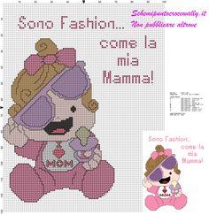 schema punto croce gratis bambina fashion come la mamma