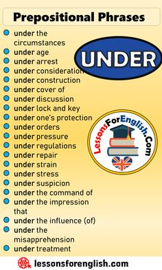 EnglishPrepositional Phrases List UNDER under the circumstances under age under arrest under consideration under construction under cover of under discussion under lock and key under one's protection under orders under pressure under regulations under repair under strain under stress under suspicion under the command of under the impression that under the influence (of) under the misapprehension under treatment Essay Writing Skills, English Writing Skills, Writing Words, English Lessons, English Learning Spoken, Teaching English Grammar, English Language Learning, English Vocabulary Words, English Phrases
